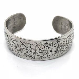 🆕Vintage Kirk Steiff Pewter Cosmos Cuff Bracelet